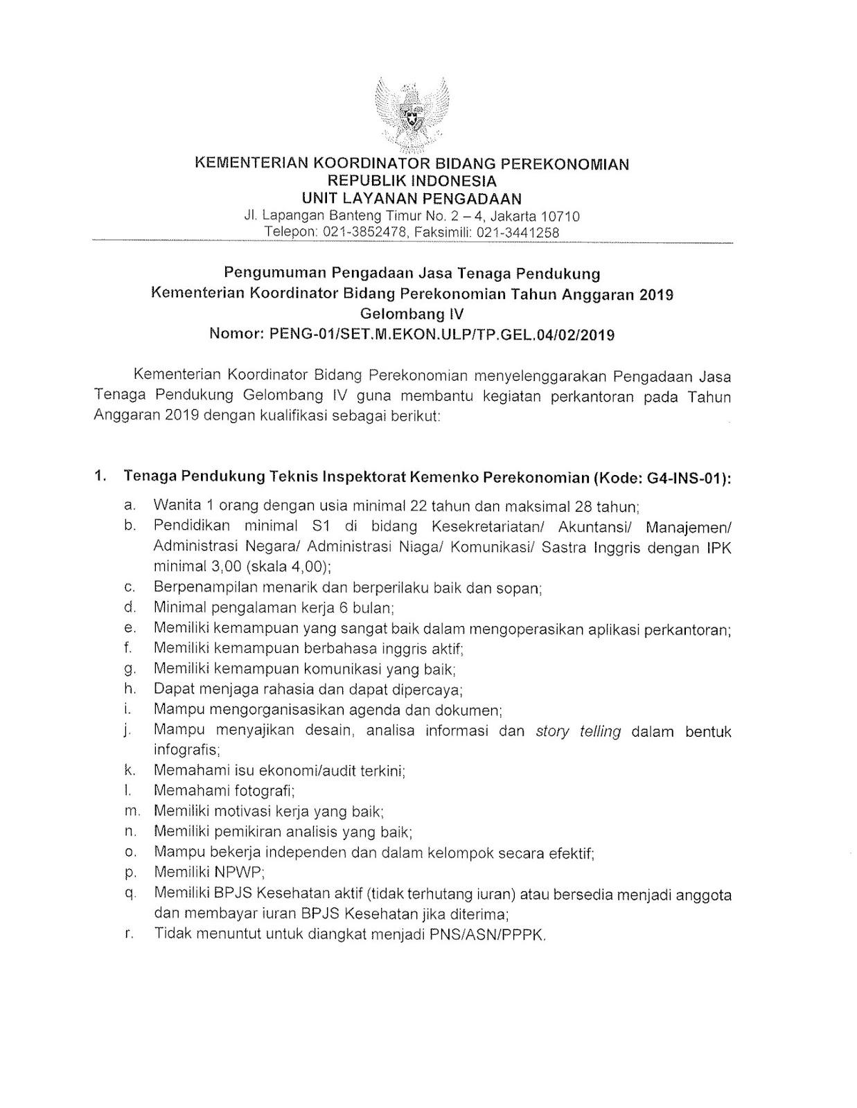 Lowongan Kerja Terbaru Kementerian Koordinator Bidang Perekonomian Februari 2019