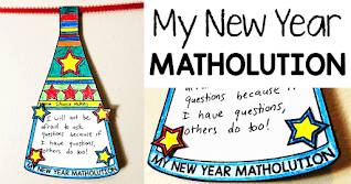Looking for a way to set new year's goals in math class? This math pennant is in the shape of a new year's horn and allows students to write out their goals and get a little creative decorating their math classrooms. The math pennants then act as reminders of their new year goals. A digital version of the Matholution pennant was added in 2020.