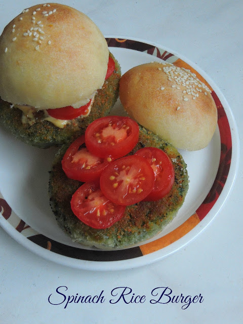 Spinach rice burger, Spinach Patty Burger.jpg