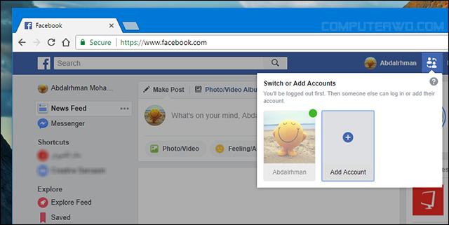التبديل بين حساباتك علي الفيسبوك من نفس المتصفح بدون اضافات