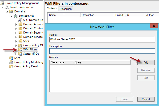 WMI GPO Filters for Windows Server 2012 and Windows 8