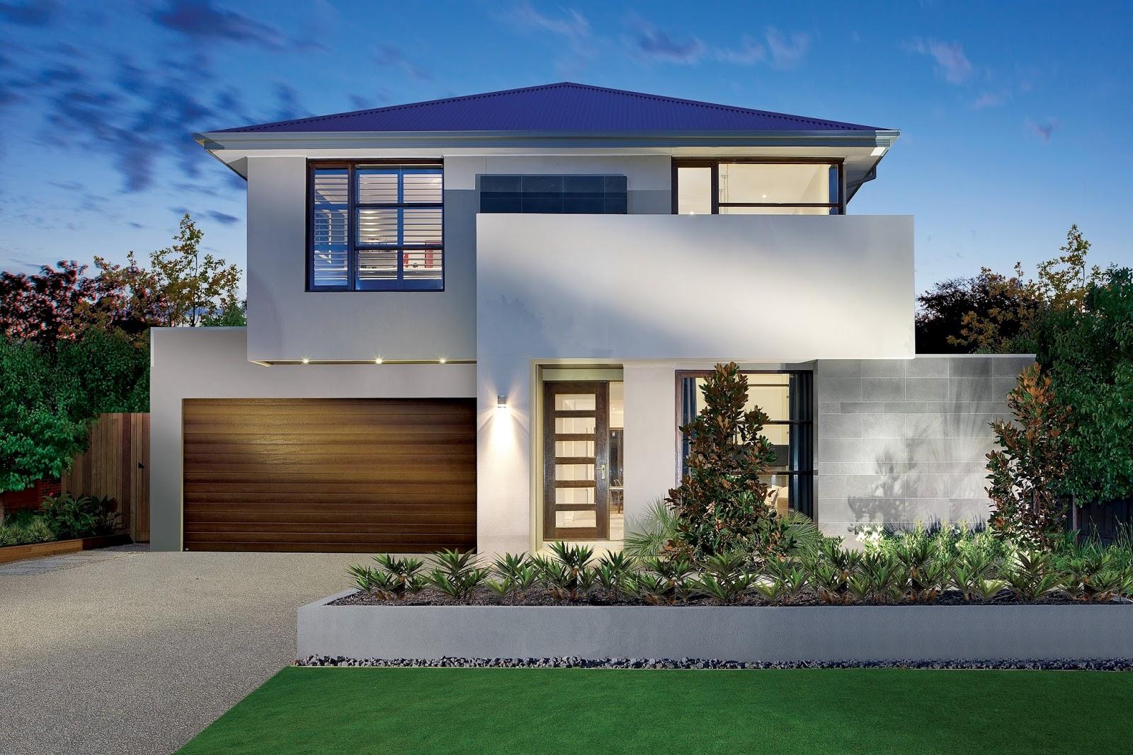 rumah model modern dengan pohon di bagian depan referensi