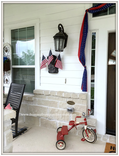 Farmhouse-Tricycle-Flags-Porch Decor-Fourth of July-Patriotic Front Porch-From My Front Porch To Yours
