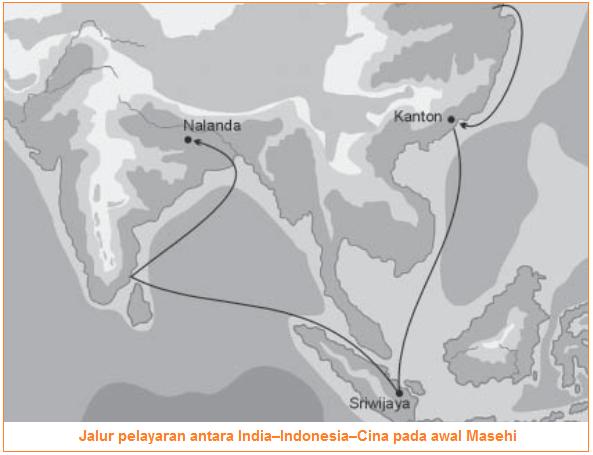 Jalur pelayaran antara India–Indonesia–Cina pada awal Masehi - Perkembangan Kebudayaan, Agama, dan Pemerintahan Masa Hindu–Buddha di Asia Tenggara