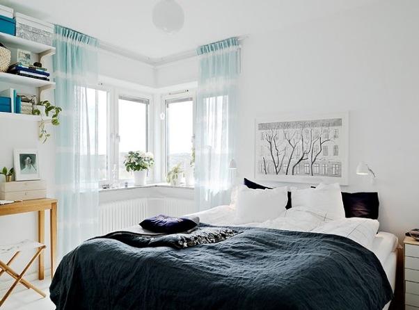 Cortina fluor habitación estilo escandinavo