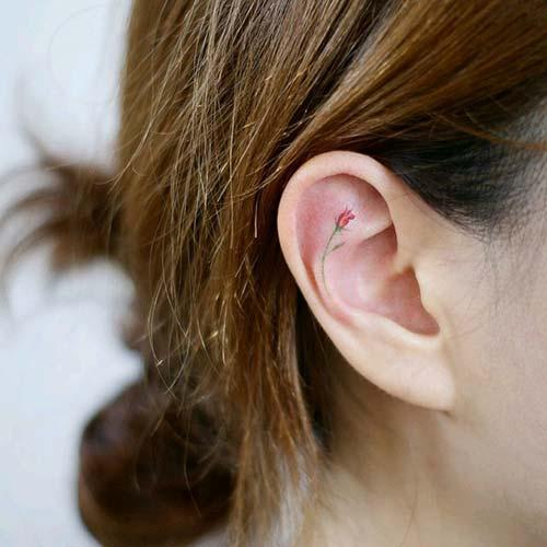 kulak içi çiçek dövmesi inner ear flower tattoo