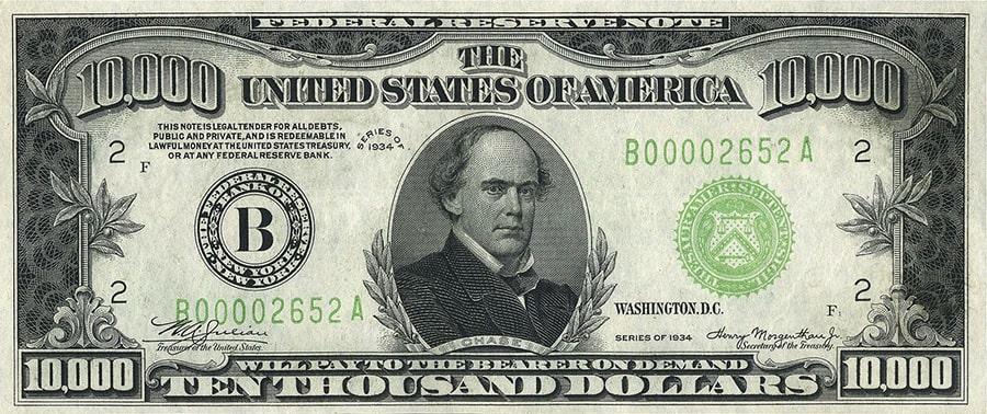 Редкие купюры долларов 10 000