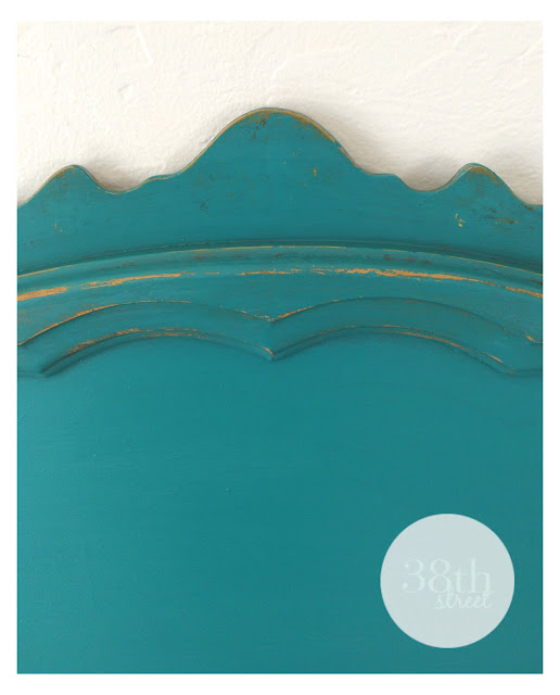 turquoise bed, turquoise headboard, chalk paint, annie sloan, ascp, twin beds,