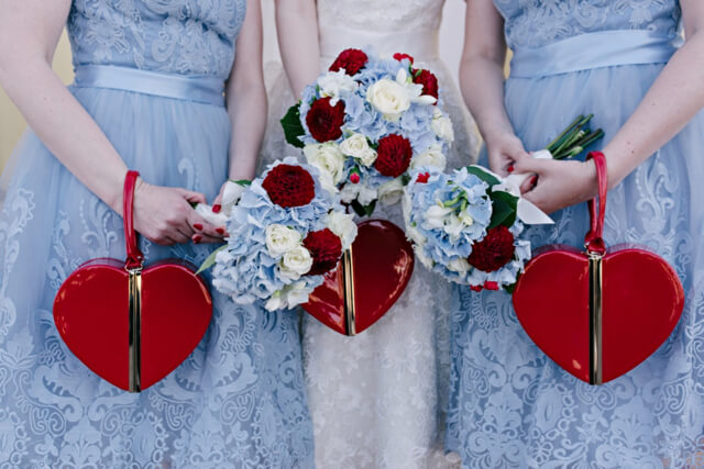 Banned Apparel heart clutch bag at wedding