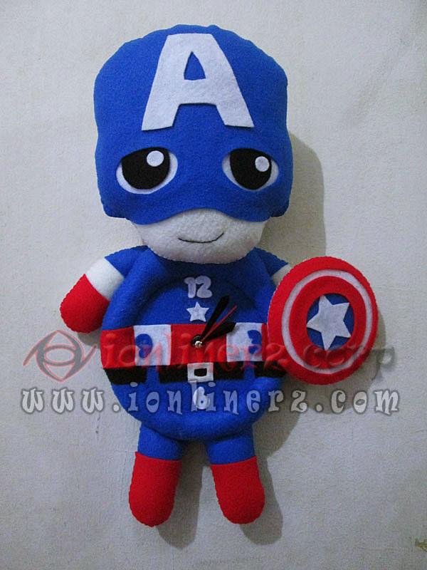 Jam Dinding Flanel Karakter Kartun Boneka Kapten Amerika