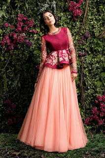 If You Thought Peplum Isnt For Ethnic Wear Think Again Lehengas With Style Blouses Are Getting Very Por Can Hide Your Tummy Fat This