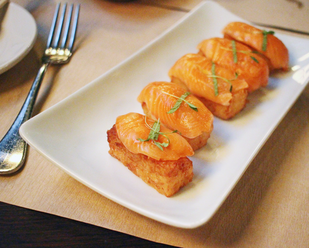 Sashimi Salmon with Crispy Sushi Rice, Mercer Kitchen Review, The Mercer Kitchen New York