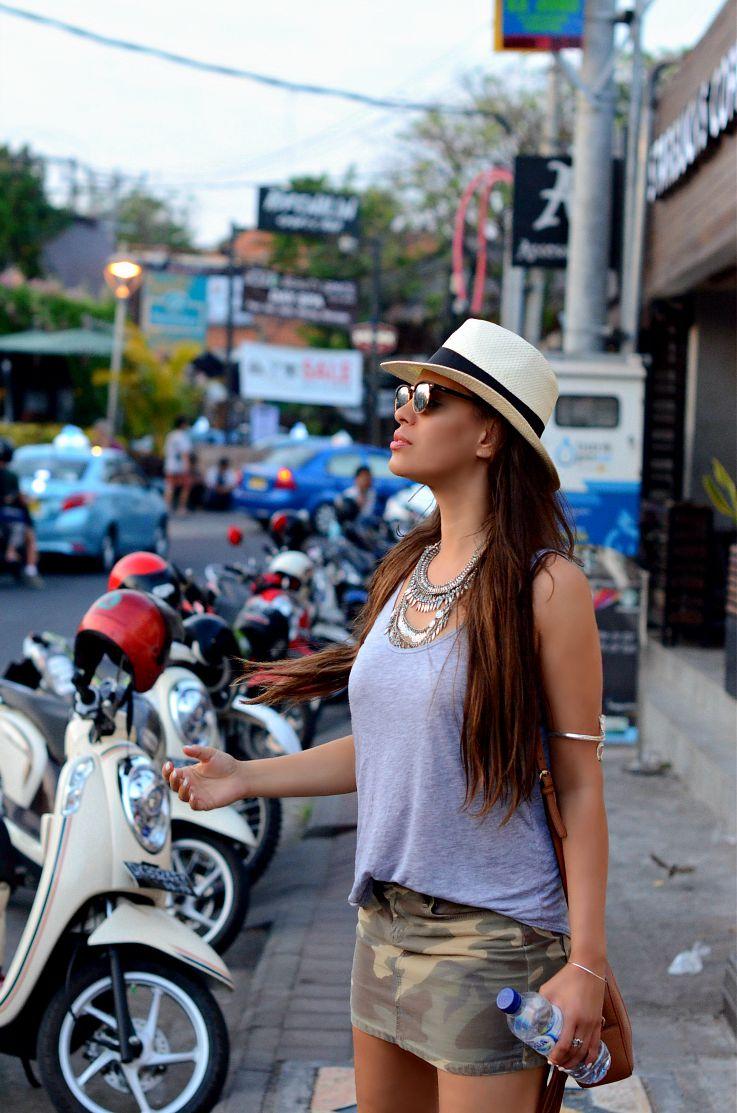 Seminyak, Bali, Indonesia, Gucci Soho Disco bag, Coin necklace, Panama hat, Rayban Club Master, Camo skirt