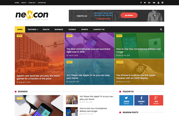 Newcon responsive blogger template free