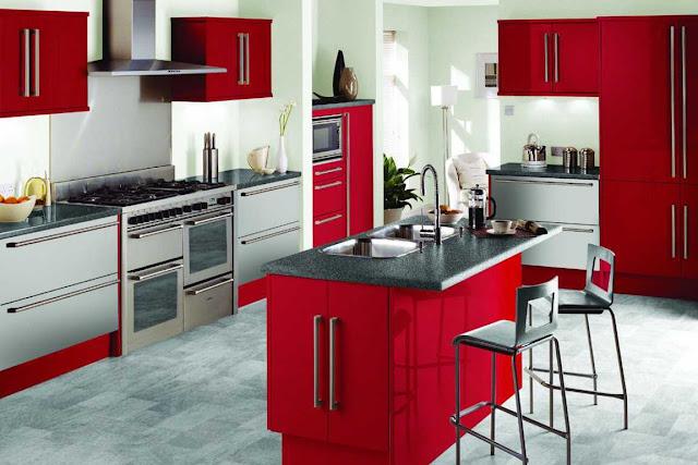 model dapur warna merah