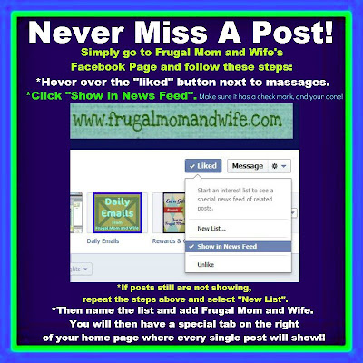 Frugal Mom and Wife: Keep Frugal Mom and Wife In Your News Feed on