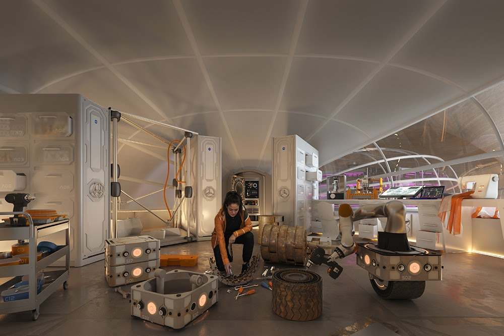 Mars workshop interior by Hassell & EOC (NASA's 3D-Printed Habitat Challenge)