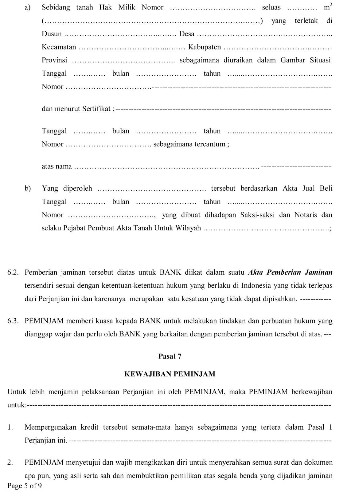 Perumahan Melayu Indah Permai Residence  Surat Perjanjian Akad Kredit