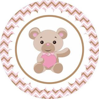 Toppers o Etiquetas para Imprimir Gratis de  Osito Bebé con Corazón Rosa.
