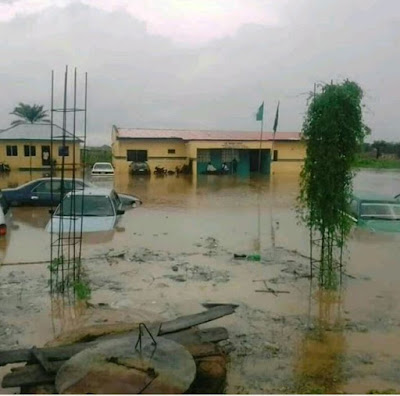 Nigerian Police Station Submerged By Flood (Photos)