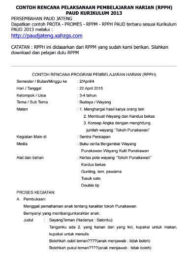 Contoh RKH & RPPH PAUD Kurikulum 2013 Lengkap Terbaru