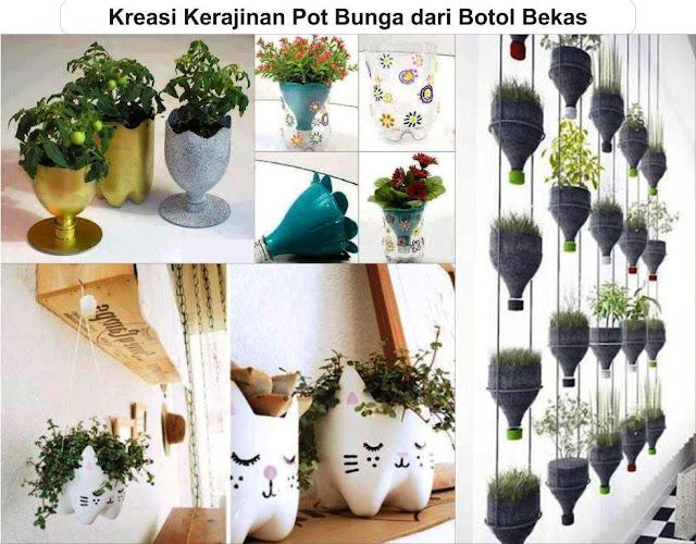 5 kreasi kerajinan pot bunga dari botol bekas