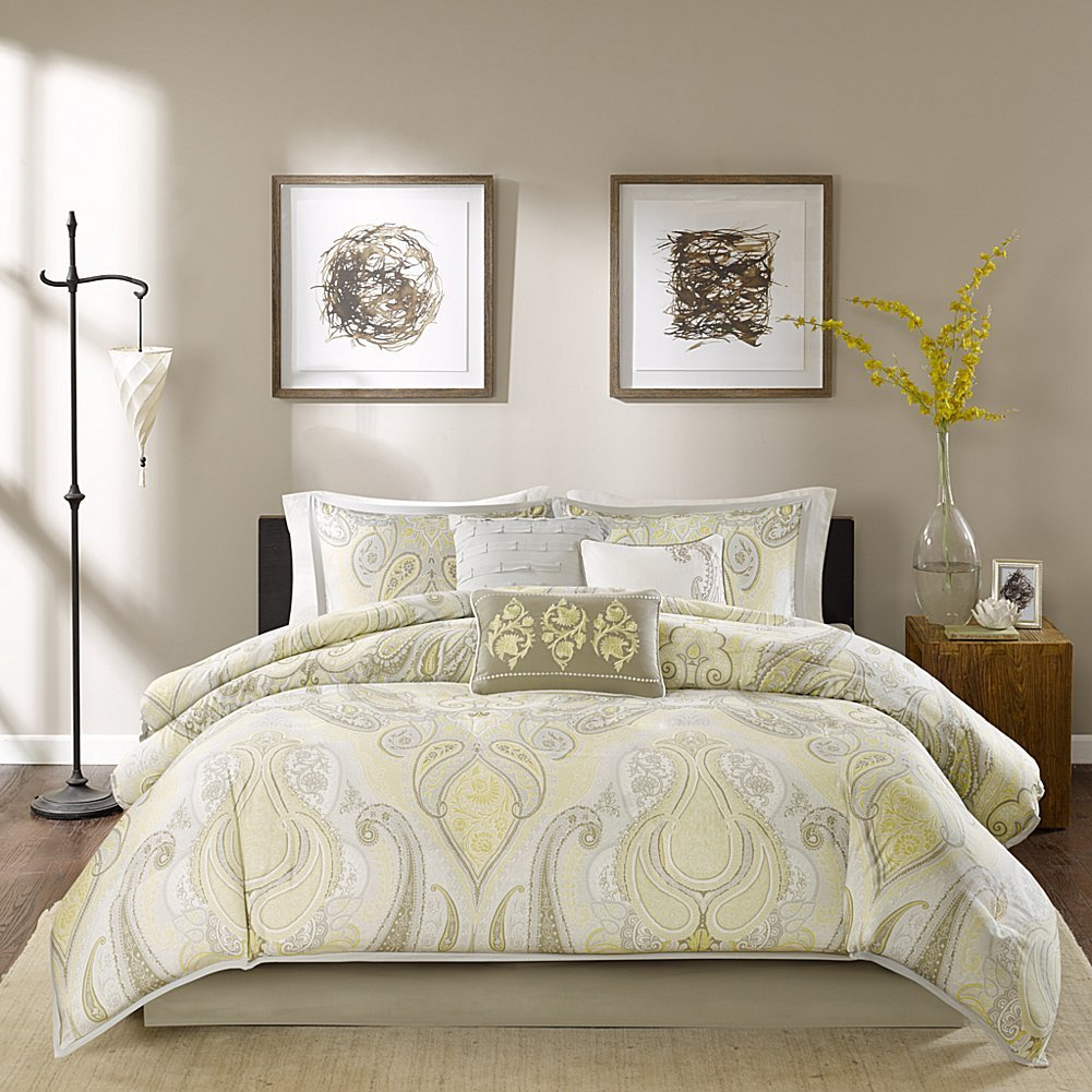 Gray And Yellow Bedroom: Yellow And Grey Comforter Sets And Bedding