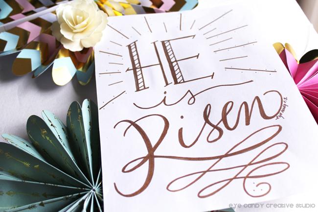 typography, hand lettered, art print, easter art print, gold lettering