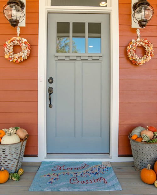 Fall Beach Decor In An Orange Cottage Coastal Decor