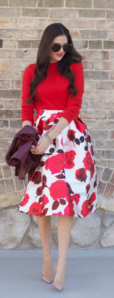 Perfect Floral Skirt Summer Outfit Ideas #summeroutfit