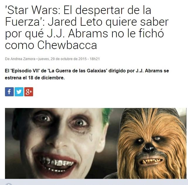 Star Wars El Despertar De La Fuerza Doblada: Jared Leto Latin American Fans: Especiales De Películas