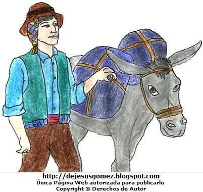Dibujo de un campesino por el Día del Campesino  (Campesino de la sierra caminando con su burro de carga). Dibujo de un campesino hecho por Jesus Gómez