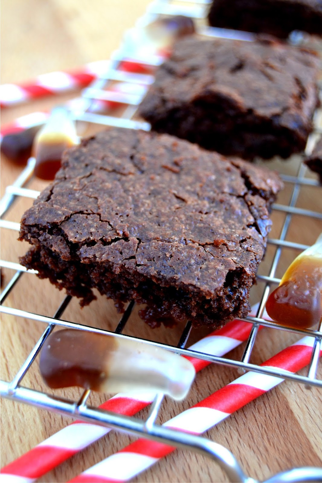 brownies flavoured with cola and added cola bottles
