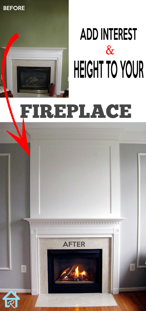 how to add an overmantel to fireplace - white fireplace with wall trim on the sides