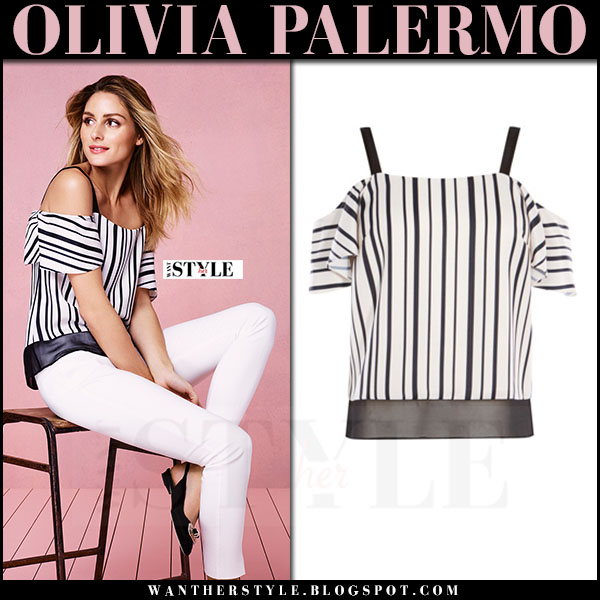 Olivia Palermo in striped black and white off shoulder top Coast what she wore campaign