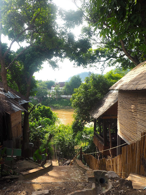 Village streets across the river in Luang Prabang, Laos