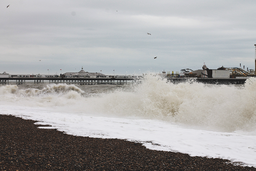 Stormy seas at Brighton Pier