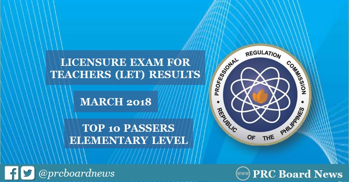 PRC RESULT: Top 10 March 2018 LET Elementary Teachers board exam