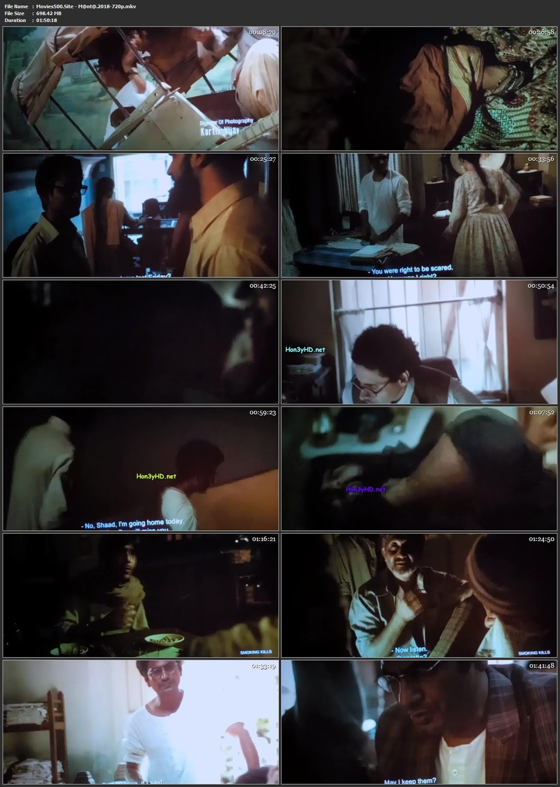 Manto 2018 Bollywood 300MB Hindi pDVDRip 480p