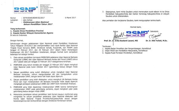 Surat Edaran BSNP Nomor: 0079/SDAR/BSNP/III/2017 tentang Pelaksanaan Ujian Nasional Satuan Pendidikan Tahun 2017