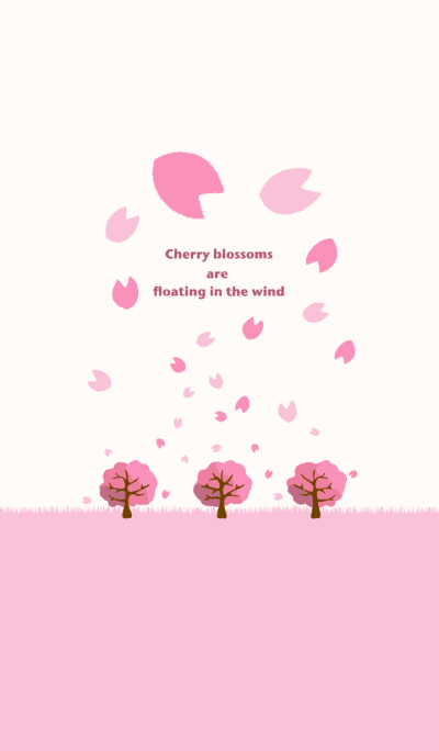 Cherry blossoms are floating in the wind