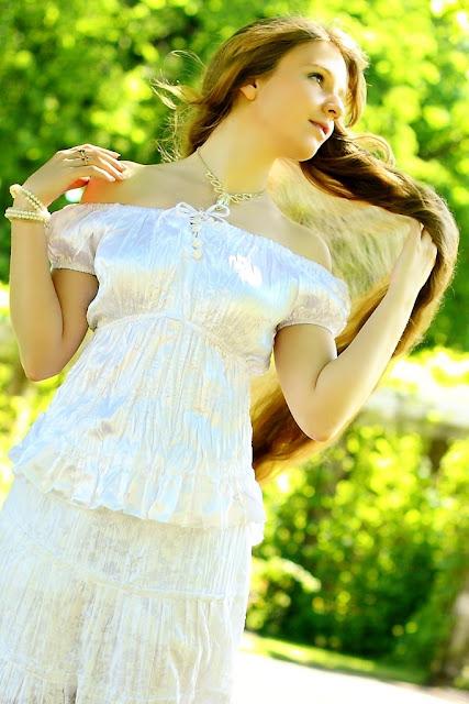 model lovely long blond hair