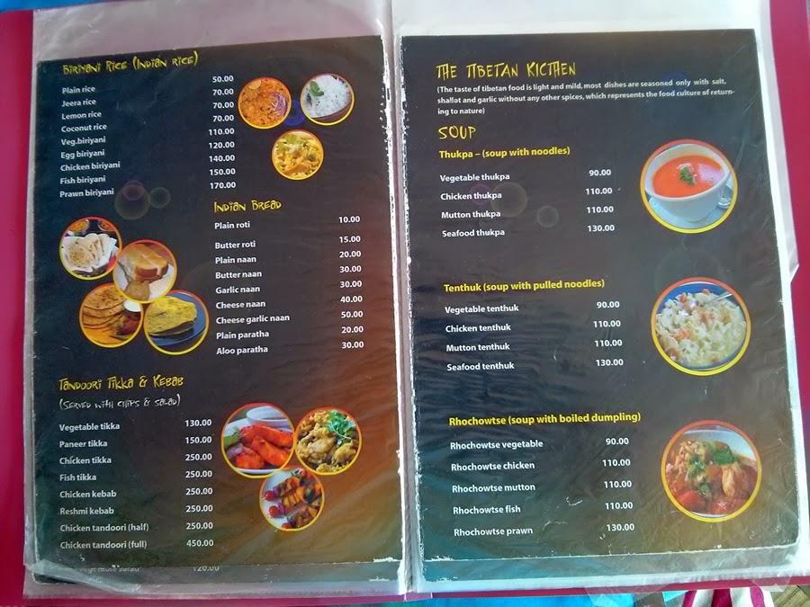 Travel and food tales: Kerala - Food, Menus - Varkala