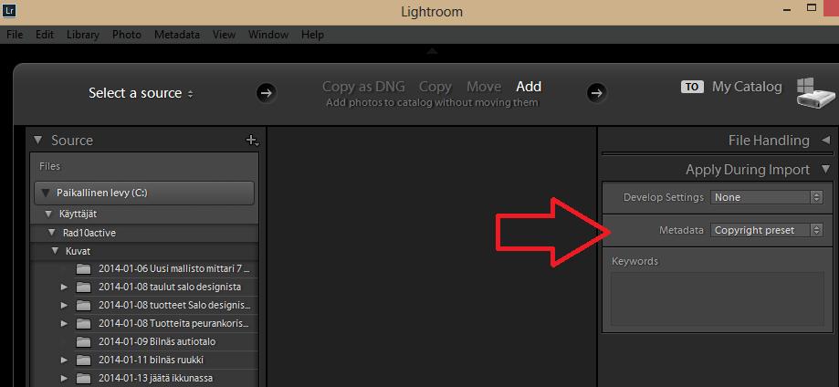 Kuinka luoda copyright preset lightroomille