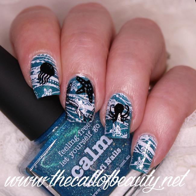 Beach Silhouette nail art