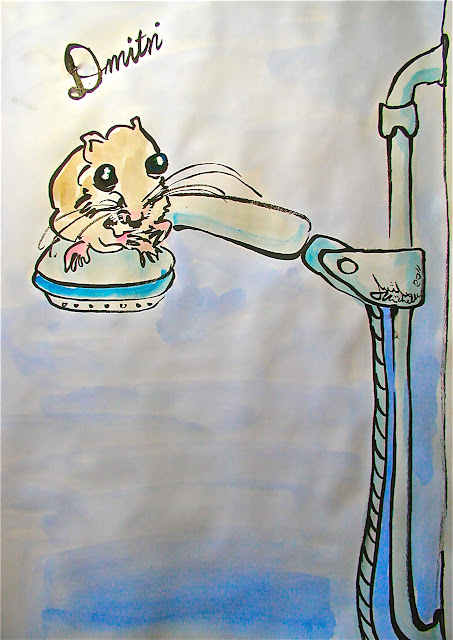 Picture of a field mouse sitting on a hand shower head