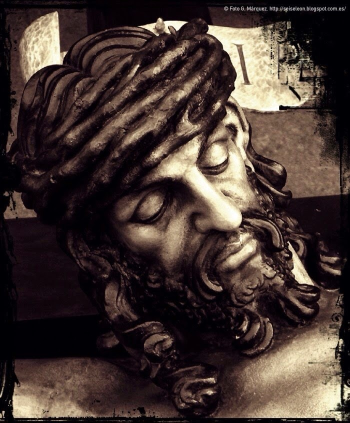 Rostro del Santo Cristo de la Redención. Cofradía de la Redención. León. Foto G. Márquez.