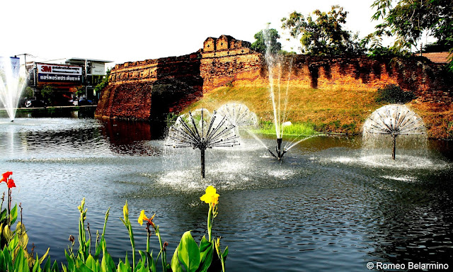 City Walls and Moat Surrounding Chiang Mai Thailand