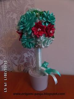 kanzashi, drzewko, róża, mięta, bordo,