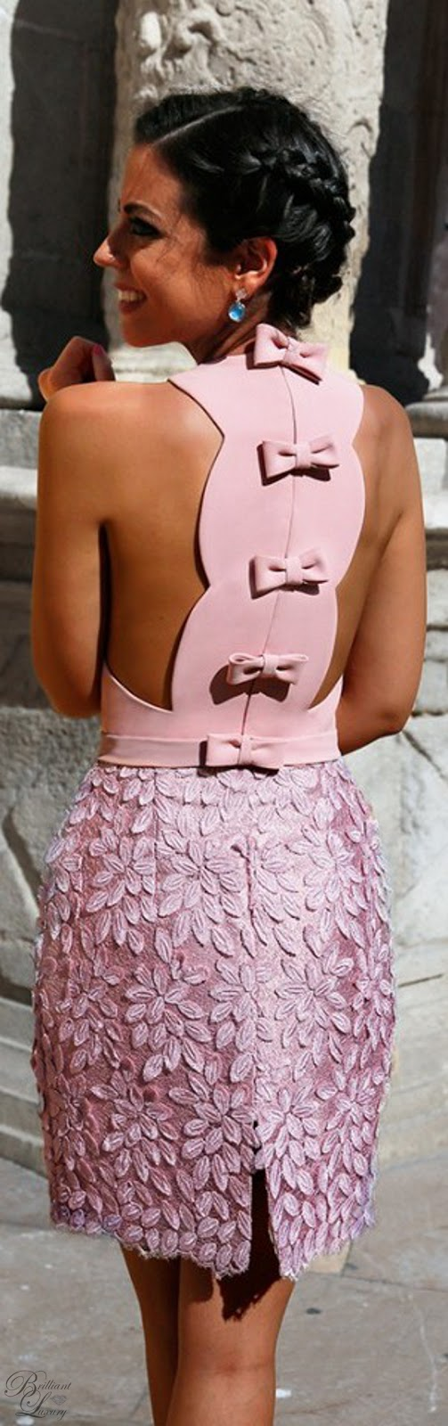 Brilliant Luxury ♦ Silvia Navarro pink Petalo dress with bow details